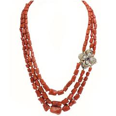 Luise Coral Topaz Garnet Diamonds silver gold Necklace