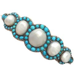 Antique Victorian Natural Pearl and Turquoise Gold Bangle