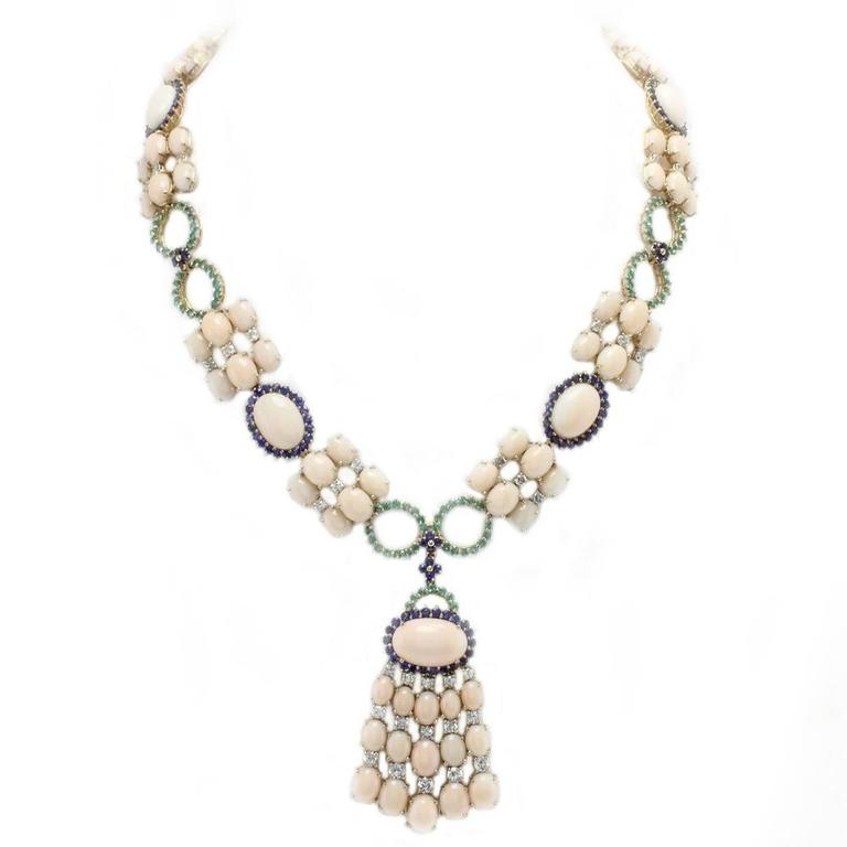 Luise Coral Sapphires Emeralds Diamonds Gold Necklace