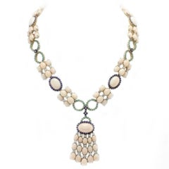 Coral Sapphires Emeralds Diamonds Gold Necklace