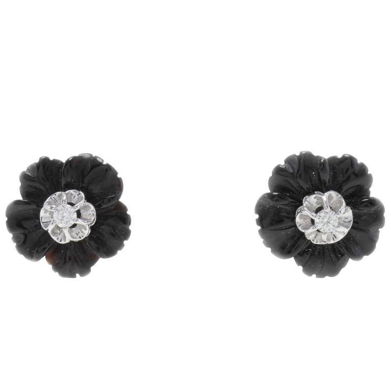Onyx Diamonds Gold Earrings