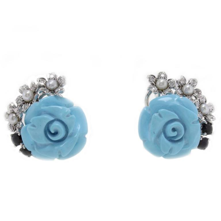 Turquoise Pearl Sapphires Diamonds Gold Earrings