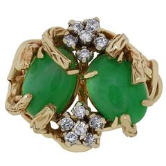 AGL Certified Jade Diamond Gold Ring