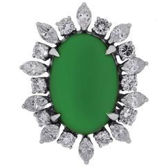 3 carat AGL Certified Jade Diamond Gold Ring