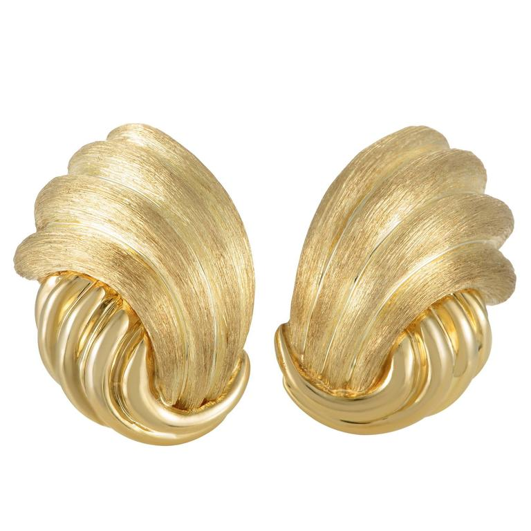 Henry Dunay Gold Clip-On Earrings
