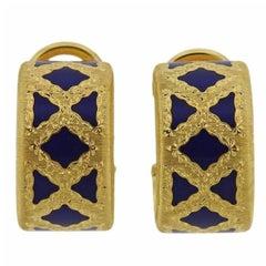 Buccellati Enamel Gold Hoop Earrings