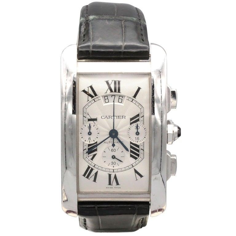 Cartier White Gold Tank Americaine Chronograph Wristwatch