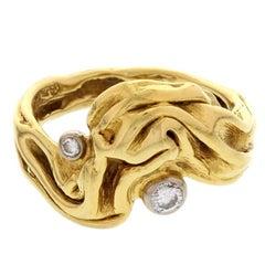 Modernist Gilbert Albert Diamond Gold Ring