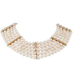 Mastoloni Pearl Diamond Five Strand Choker Collar