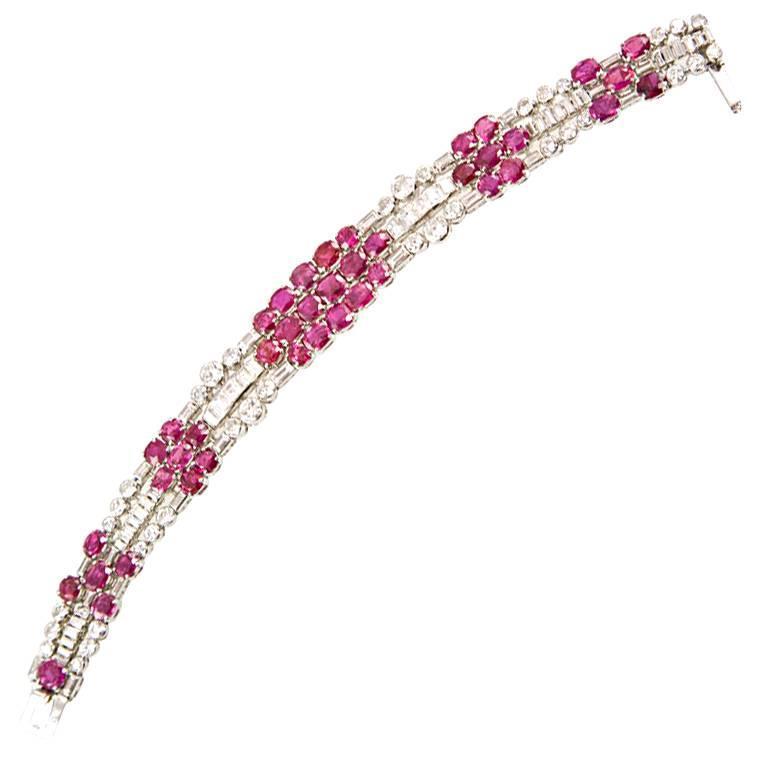 Art Deco 32.10 Carat UNTREATED Burmese Ruby 12.0 Carat Diamond Platinum Bracelet