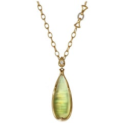 Anahita Iridescent Lemon Quartz Mother-of-Pearl White Diamond Long Gold Necklace