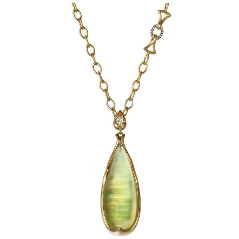 Anahita Iridescent Lemon Quartz Mother-of-Pearl White Diamond Long Gold Necklace For Sale