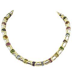 Bulgari Gem Set  Gold Steel Necklace