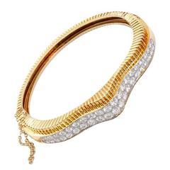 Oscar Heyman Classic 6 Carats Diamonds Gold Platinum Bangle Bracelet