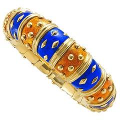 Tiffany & Co. Blue and Orange Enamel Schlumberger Bangle