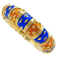 Tiffany & Co. Blue and Orange Enamel Schlumberger Bangle