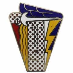 1960s Roy Lichtenstein Metal Enamel Modern Head Large Brooch Pin