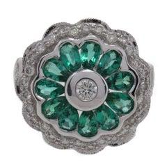 Daisy Emerald Diamond Gold Ring