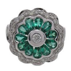 Daisy Emerald Diamond Gold Ring