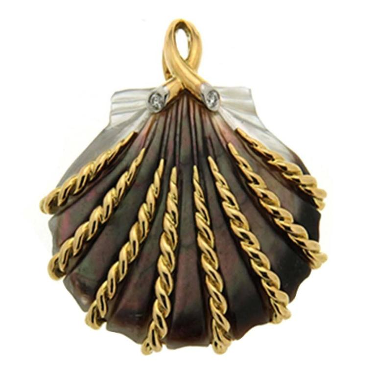 Valentin Magro Hand-Carved Mother-of-Pearl Sea Shell Pendant