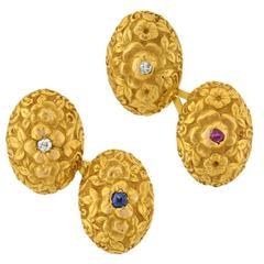 Art Nouveau Diamond Ruby Sapphire Repousse Gold Cufflinks