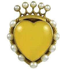 Antique Pearl Yellow Agate Crowned Heart Gold Brooch