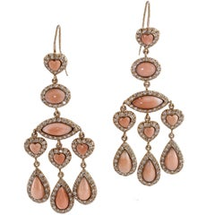 Diamond Coral Gold Earrings