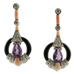Diamond Amethyst Coral Onyx Gold Earrings