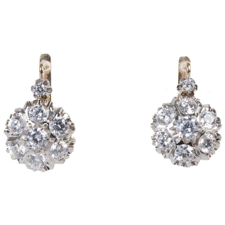 1 karat earrings 14 karat gold and cubic zirconia earrings for sale at 1stdibs 6035
