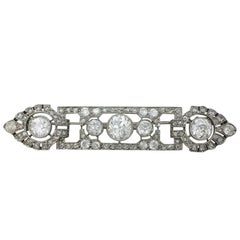 1920s Mauboussin Art Deco Diamond Platinum Brooch