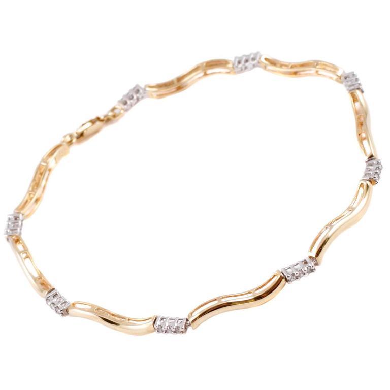 Yellow Gold Diamond Stackable Bracelet