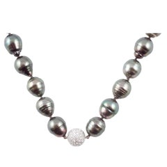 Stunning Strand Natural Color Tahitian Cultured Pearls Diamond Clasp