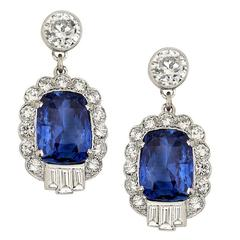 No Heat 8.4 Carat Sapphire Diamond Platinum Drop Earrings AGL Certificate