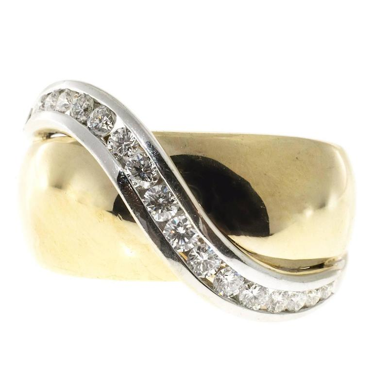 Channel Set Diamond Gold Swirl Cocktail Ring 1