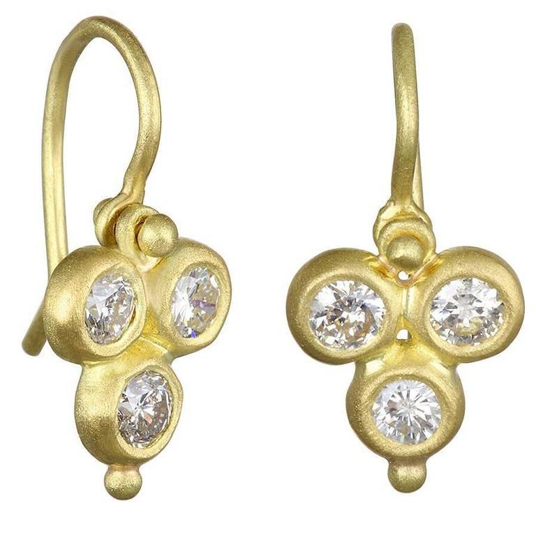 Faye Kim Triple Diamond Gold Drop Hinged Earrings