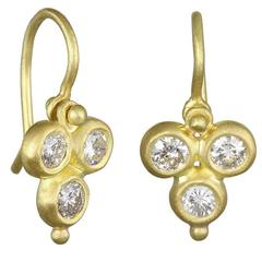 Faye Kim Triple Diamond Gold Drop Hinged Earrings