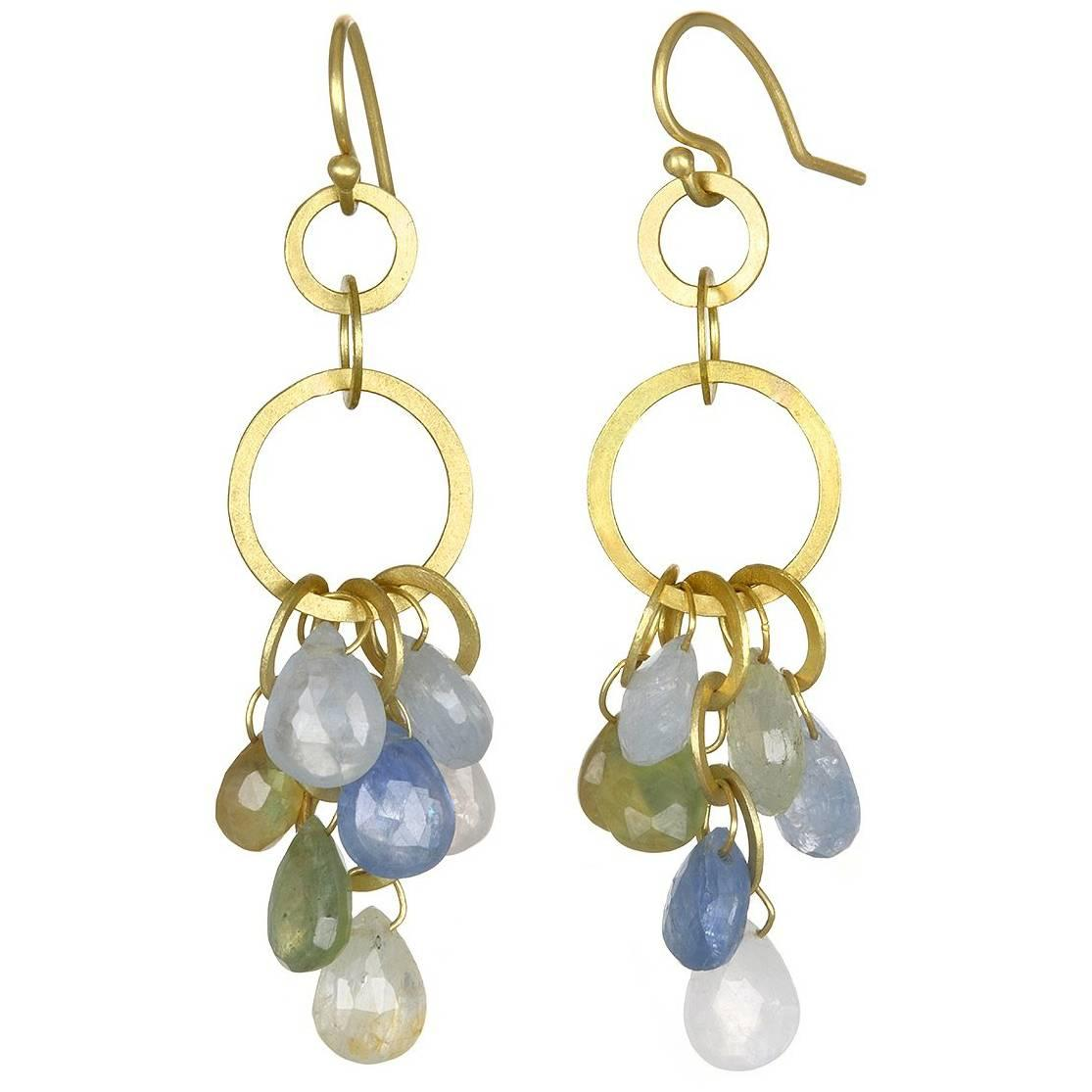 Faye Kim 18k Gold Umba Sapphire Briolette Drop Earrings