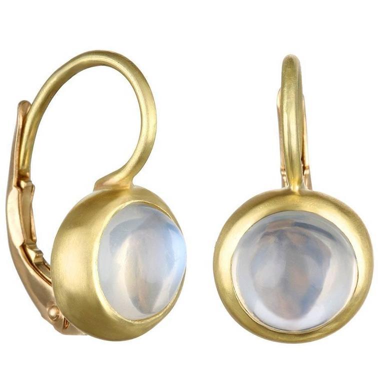 Faye Kim Gold Bezel Ceylon Moonstone Earrings with Lever Backs