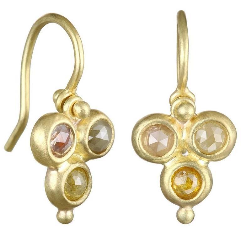 Faye Kim Raw Diamond Gold Hinge Earrings