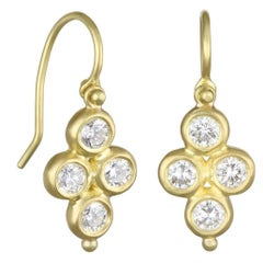 Faye Kim 18k Gold Diamond Hinged Clover Drop Earrings