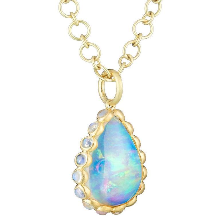 Faye Kim Ethiopian Opal and Moonstone Pendant For Sale