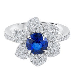 1.35 Carat Sapphire Diamond Gold Flower Ring
