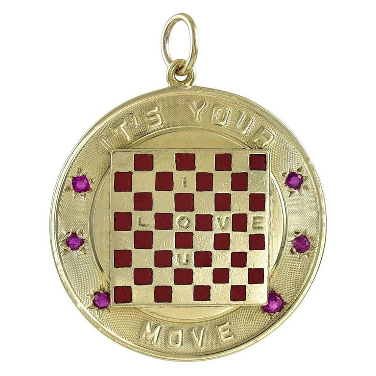 Spectacular Gold and Ruby Checkerboard It's Your Move Charm For Sale