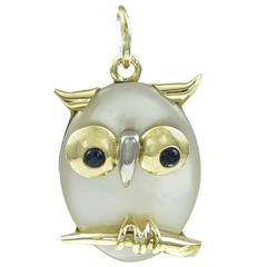 Gold Mother of Pearl and Sapphire Owl Charm
