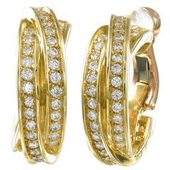 Cartier France Diamond Gold Trinity Earrings