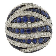 Asprey Diamond Sapphire Large Ring