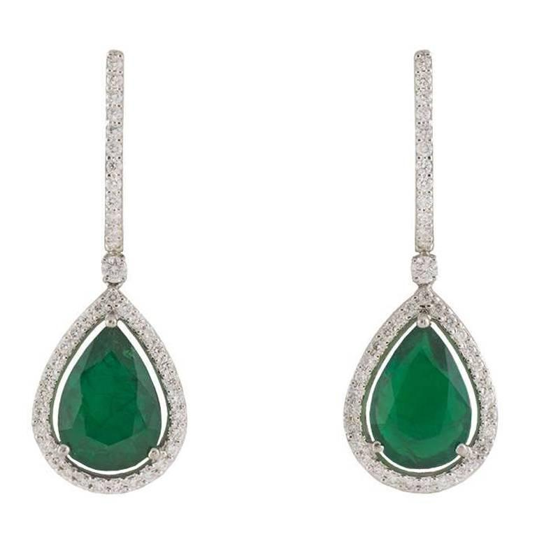 Emerald and Diamond Drop Earrings 7.57 Carat For Sale