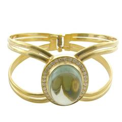 Green Amethyst with Diamonds Bangle Cuff