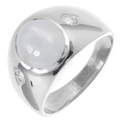 Star Sapphire Diamond Men's White Gold Three-Stone Ring