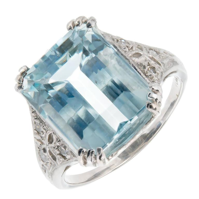 Art Deco Aqua Diamond Platinum Cocktail Ring